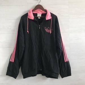 VTG Adidas Black Pink Zip Up Nylon Warm Up